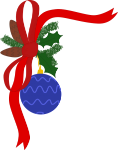 Picture of a blue ball ornament with holly and a red bow attached